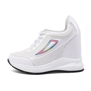 Arden Furtado Summer Fashion Trend Women's Shoes pure color White Wedges sneakers Cross Lacing  Leather Comfortable Leisure Shallow Small size 32