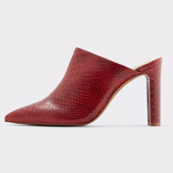 Arden Furtado Summer Fashion Trend Women's Shoes new  mules Classics Mature  chunky heels Concise red serpentine Sexy Elegant pure color Slippers