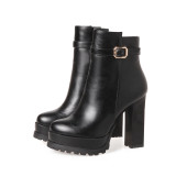 Arden Furtado Fashion Women's Shoes Winter Round Toe Chunky Heels  Elegant Ladies Boots Concise pure color Big size 43
