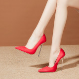 Arden Furtado Summer Fashion Trend Women's Shoes Pointed Toe Stilettos Heels Classics Sexy Elegant pure color red white  satinSlip-on  Big size 43