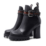 Arden Furtado Fashion Women's Shoes Winter Round Toe Chunky Heels  Buckle Elegant Ladies Boots Concise pure color Big size 43