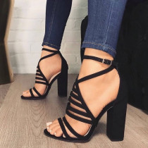 Arden Furtado Summer Fashion Trend Women's Shoes Sexy Elegant Concise Mature Concise Buckle Sandals Narrow Band chunky heels sandals Big size 47