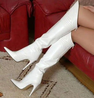 Arden Furtado Fashion Women's Shoes Winter sexy white Sexy Elegant Back zipper Matte Ladies Boots Pointed Toe stilettos boot  Classics Over The Knee High Boots Big size 47