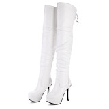 Arden Furtado Fashion Women's Shoes Winter sexy  pure color Sexy Elegant Lace up Concise Matte Waterproof Ladies Boots Pointed Toe stilettos boot  Over The Knee High Boots Small size 30 Big size 48