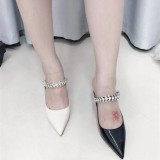 Arden Furtado Summer Fashion Women's Shoes Pointed Toe Stilettos Heels Concise Sexy Elegant Pure Color crytal rhinestone Slippers Mules