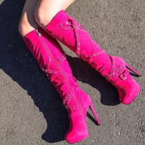 Arden Furtado  Winter  Fashion Trend Women's Shoes Stilettos Heels Waterproof Sexy Rivet Buckle Elegant Concise Classics  Mature knee high boots Leather Big size 47