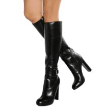 Arden Furtado  Winter  Fashion Trend Women's Shoes Sexy Zipper Elegant  chunky heels Buckle Concise Classics  Mature knee high boots  Big size 47