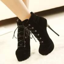Arden Furtado  Winter  Fashion Trend Women's Shoes Stilettos Heels Waterproof Sexy Elegant Concise Classics  Mature Leather Cross Lacing Short Boots Big size 47