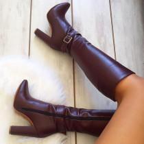 Arden Furtado  Winter  Fashion Trend Women's Shoes Sexy Zipper Elegant Burgundy chunky heels Buckle Concise Classics  Mature knee high boots  Big size 47
