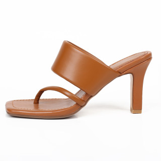 Arden Furtado Summer Fashion Trend Women's Shoes Square Head  Sexy Elegant  pure color brown Slippers Narrow Band Classics