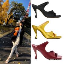 Arden Furtado Summer Fashion Trend Women's Shoes  Square Head pure color Sexy Elegant  Slippers Strange Style Heels Burgundy