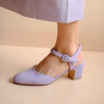 Arden Furtado Summer Fashion Trend Women's Shoes Chunky Heels Chunky Heels Classics pure color purple Buckle Sandals