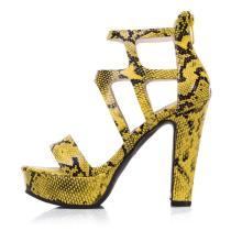 Arden Furtado Summer Fashion Trend Women's Shoes Waterproof Back zipper yellow White Chunky Heels Sandals Party Shoes
