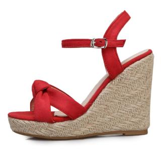 Arden Furtado Summer Fashion Trend Women's Shoes Wedges Buckle Blue Red Sandals Classics Party Shoes  Big size 50