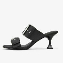 Arden Furtado Summer Fashion Trend Women's Shoes Square Head  Sexy Elegant Concise Leather Buckle pure color Mature Slippers