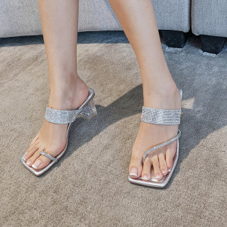 Arden Furtado Summer Fashion Trend Women's Shoes Square Head  Sexy Elegant pure color  silver Narrow Band Slippers