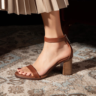 Arden Furtado Summer Fashion Trend Women's Shoes  Chunky Heels Zipper Classics  Sexy  Leather Elegant pure color brown  Sandals