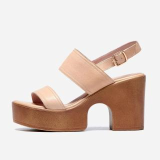 Summer genuine leather platform chunky heels buckle strap casual wedges sandals shoes women's shoes