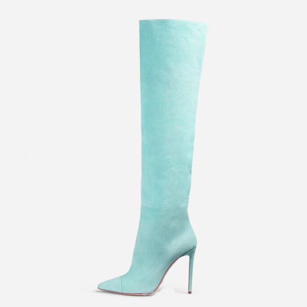 Fashion shoes blue pink suede boots stilettos heels 12cm high heels over the knee thigh high boots women's shoes large size 44 45