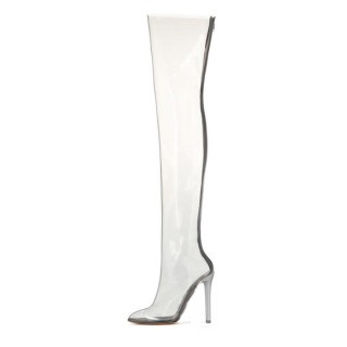 Summer boots Club Shoes Heels Stiletto Heels  big size clear pvc sexy high heels thigh high boots