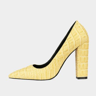 Arden Furtado Summer Fashion Trend Women's Shoes Pointed Toe Chunky Heels pure color yellow white Slip-on Pumps Big size 45