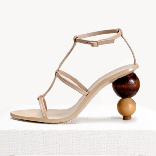 Arden Furtado strange shaped sandals open toe shoes high heels T-strap shoes