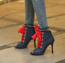 Peep toe shoes women's red band lace up jeans summer boots high heels women's shoes