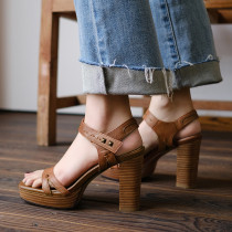 Arden Furtado 2020 summer chunky heels genuine leather sandals open toe fashion shoes buckle strap Platform sandals