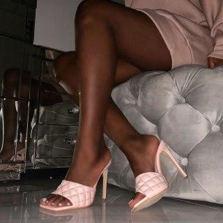 Arden Furtado summer high heels 12cm stilettos heels peep toe sandals pink brown gingham slippers ladies shoes 44 45