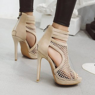 Fashion cover heels back zipper platform summer boots fretwork mesh sandals stilettos heels peep toe party shoes big size 44 45