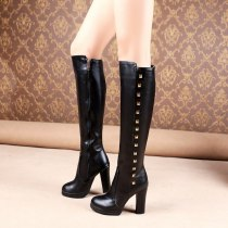Spring autumn winter Fashion shoes rivets boots chunky heels platform Women's boots round toe White knee high boots large size