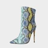Arden Furtado Fashion Women's Shoes Winter Pointed Toe  Mixed Colors sexy Stilettos Serpentine Heels Half Boots high heels 12cm