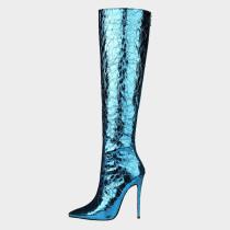 Arden Furtado Summer Fashion  Women's Shoes Slip-on Pointed Toe Stilettos Heels pure color Blue  Sexy Elegant Knee High Boots