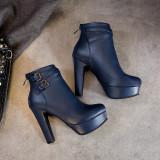 Arden Furtado Fashion Women's Shoes Winter Chunky Heels Zipper Sexy Elegant Ladies red white Boots Big size 50