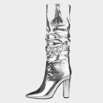Arden Furtado Fashion Women's Shoes Winter Pointed Toe Chunky Heels  Sexy Elegant Ladies Boots Concise Mature pure color silver