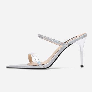 Arden Furtado Summer Fashion Women's Shoes Peep Toe PVC Stilettos Heels Concise Sexy Elegant crystal rhinestone Slipperse