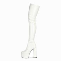 Arden Furtado Fashion Women's Shoes Winter round Toe chunky Heels Elegant Women's Boots white thigh High Boots 44 45
