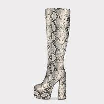 Arden Furtado 2020 Fashion Women's Shoes round Toe chunky Heels Elegant Women's Boots platform silver snakeskin knee high Boots