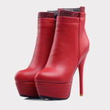 2020 Spring autumn winter Fashion shoes stiletto heels boots platform Women's boots round toe red ankle boots large size 44 45