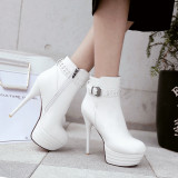 2020 Spring autumn winter Fashion shoes stiletto heels boots platform Women's boots round toe White ankle boots large size 44 45