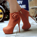 2020 Spring autumn winter Fashion shoes stiletto heels boots platform Women's boots round toe red suede flowers ankle boots 45