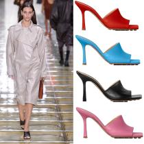 Arden Furtado Summer Fashion Women's Shoes Concise pure color blue  Stilettos Heels Square Head  Mules Sexy Elegant Slipperse