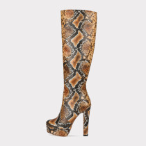 Arden Furtado Fashion Women's Shoes round Toe chunky Heels Elegant Women's Boots platform snakeskin knee high Boots 44 45