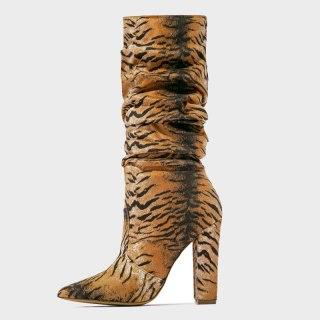 Arden Furtado 2020 Fashion Women's Shoes Mature Pointed Toe chunky Heels  Matte Elegant Women's Boots  knee high Boots 44 45