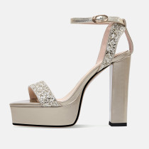 Arden Furtado summer sandals women's shoes chunky heels pure color gold ladies elegant fashion party shoes 33 40