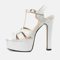 Arden Furtado summer sandals women's shoes chunky heels pure color red white Waterproof elegant Buckle fashion party shoes 33 40