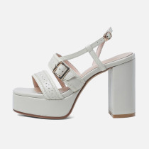 Arden Furtado summer sandals women's shoes chunky heels pure color  Waterproof elegant Buckle fashion party shoes Narrow Band