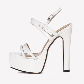 Arden Furtado Summer Fashion Women's Shoes Pointed Toe Chunky Heels white Sexy Platform Narrow Band Elegant Buckle strap Sandals