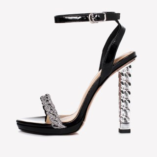Arden Furtado Summer Fashion Women's Shoes Sexy Silver Elegant Buckle silver Champagne strap Narrow Band Crystal Sandals