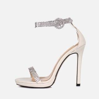 Arden Furtado Summer Fashion Women's Shoes Sexy Silver Elegant Buckle strap Party Shoes  Narrow Band Crystal Rhinestone Sandals